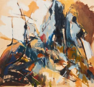 Expressive landscape oil on canvas by Ochre Lawson
