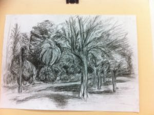 Landscape drawing in charcoal