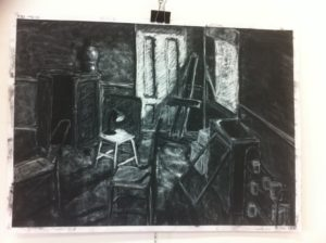 Interior drawing in charcoal