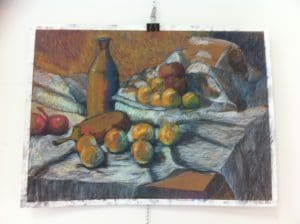 Still life in chalk pastel