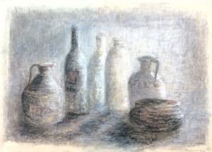 Still life in chalk pastel and charcoal