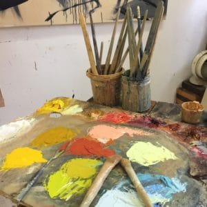 A palette full of mixed colours