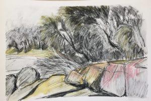 En plein air sketch of rocks and trees