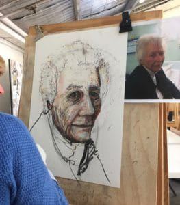 learning to draw a portrait at art class Sydney