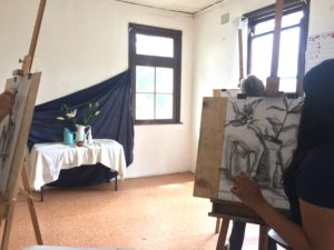 Drawing a still life at a weekend workshop