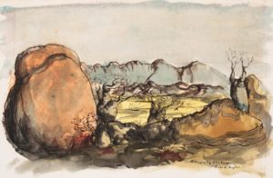 Russell Drysdale landscape in watercolour and ink