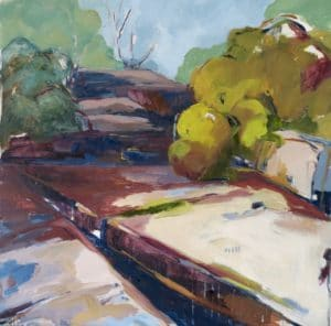 Expressive landscape painting by Ochre Lawson