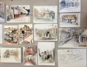 urban landscape drawings in watercolour and ink